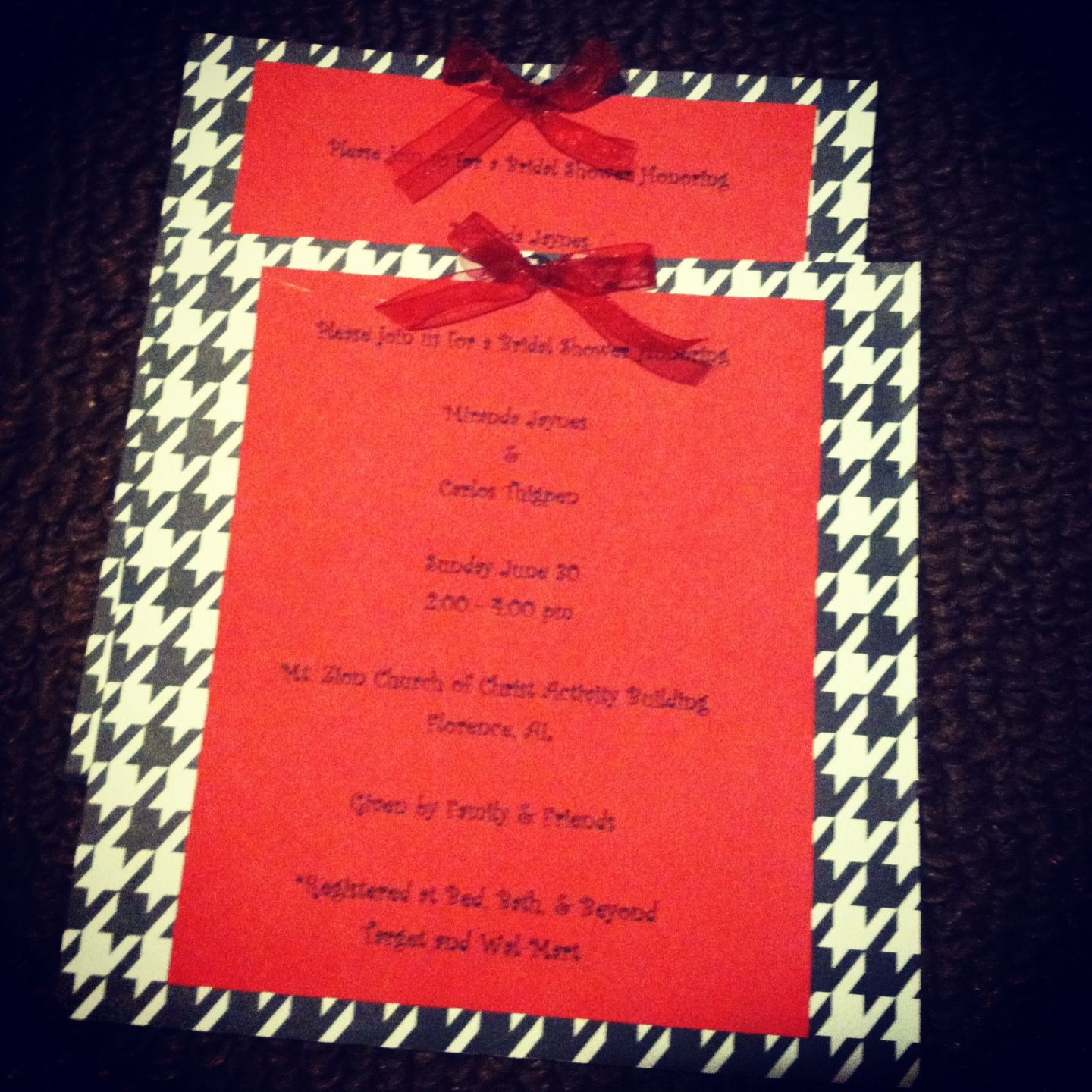 Houndstooth wedding shower invitations we made :) | Cute Crafts ...