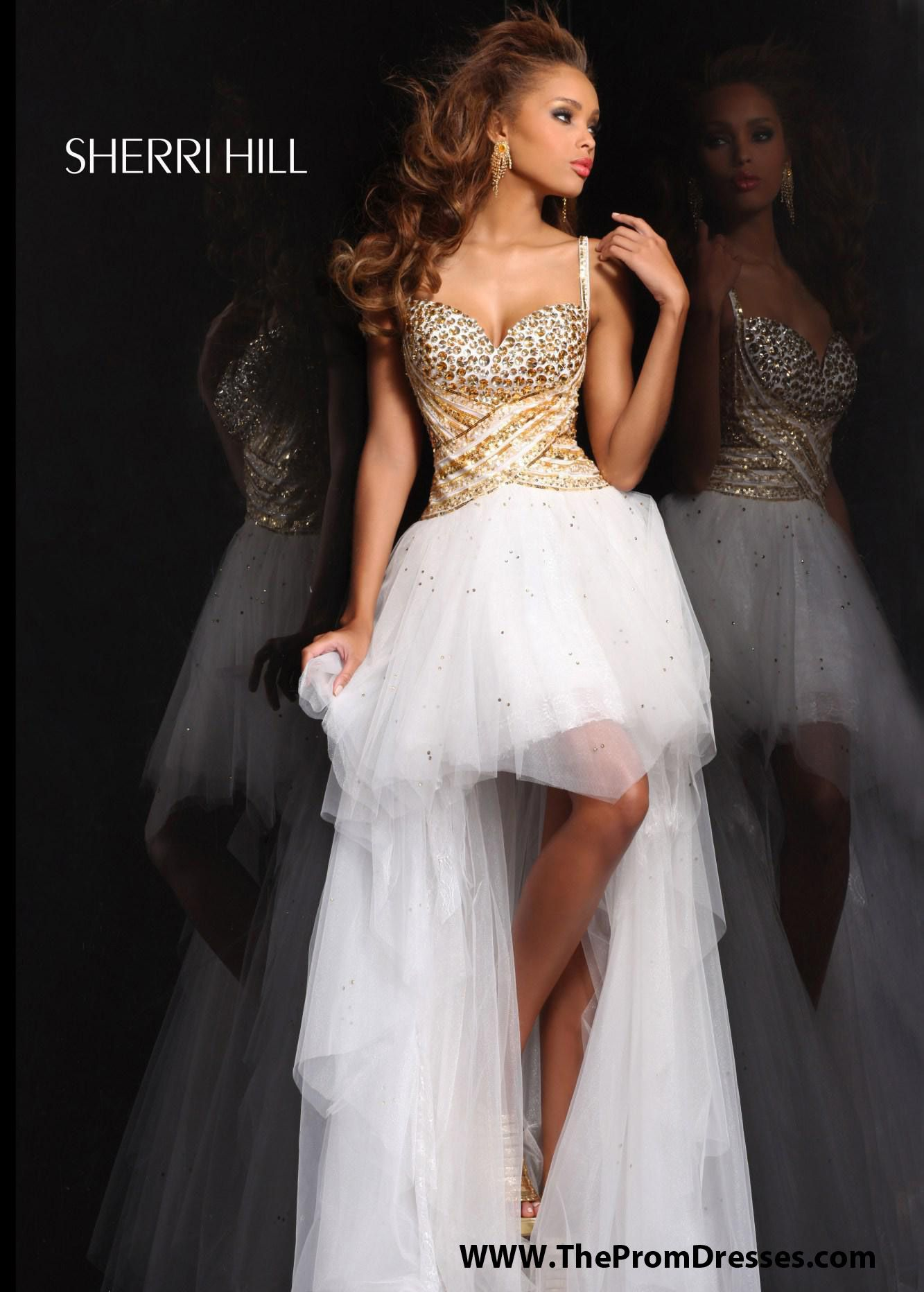 Gold Spaghetti Straps Jewels Beaded High to Low White Tulle Dress ...