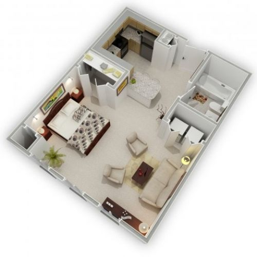 3d studio apartment floor plans inspiration decor 27217 for Studio apartment design 3d