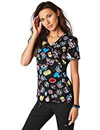 71d9310c4fe Koi Lite Women's Inspire Mock Wrap Emoji Print Scrub Top >>> You can get  additional details at the image link.