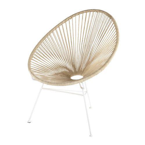 fauteuil en cordes de coton et métal blanc | salon | pinterest ... - Chaise Corde Tressee