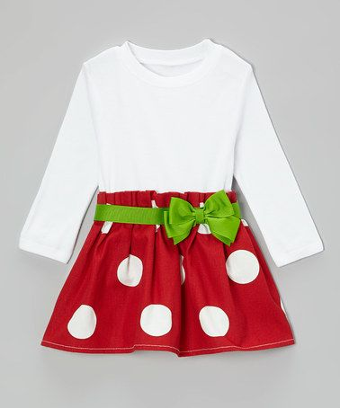 This Red & Green Bow Dress - Infant & Toddler is perfect! #zulilyfinds