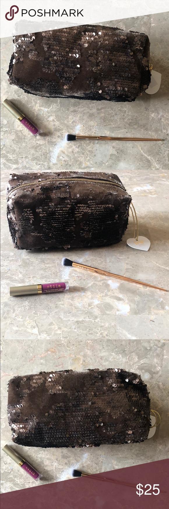 NWT Imoshion Velvet Sequin Cosmetic Bag Cosmetic bag