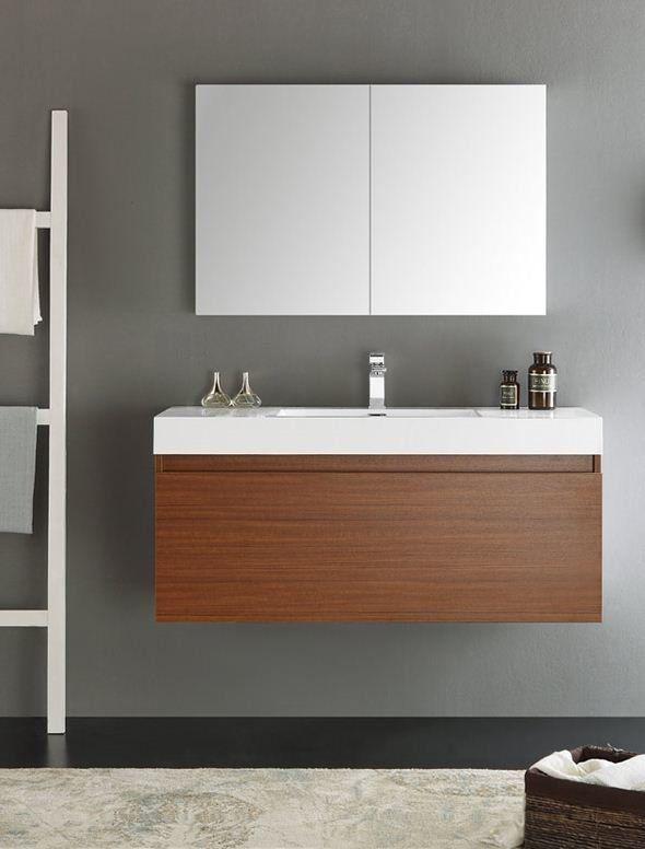 "Senza 48"" Mezzo Single Wall Mounted Modern Bathroom Vanity Set with Mirror"