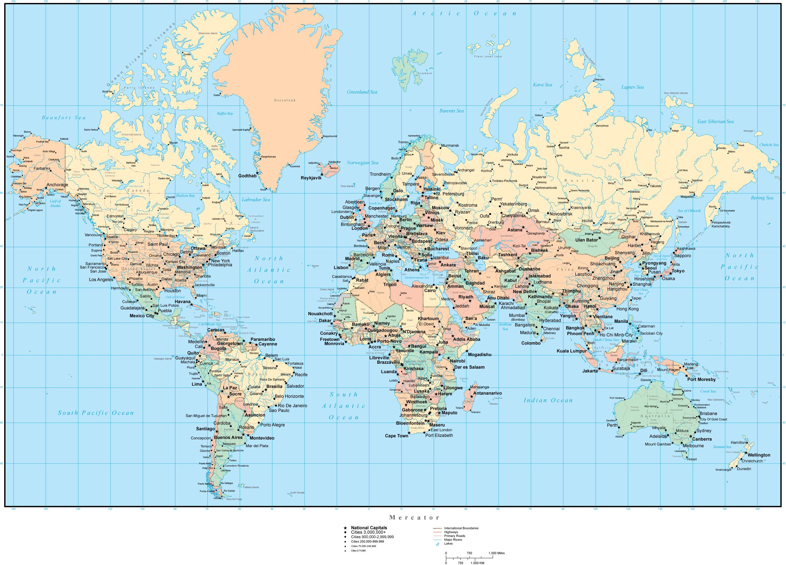 World Map With Countries Capitals Cities US States Canadian - United states map plus capitals