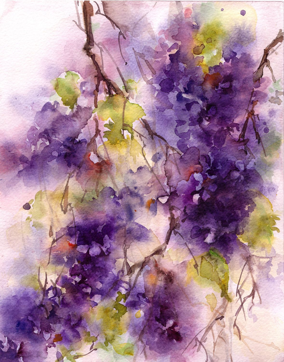 Lilac Watercolo Print, Watercolor Painting Art Print, Abstract Purple Floral Wall Art by CanotStopPrints on Etsy