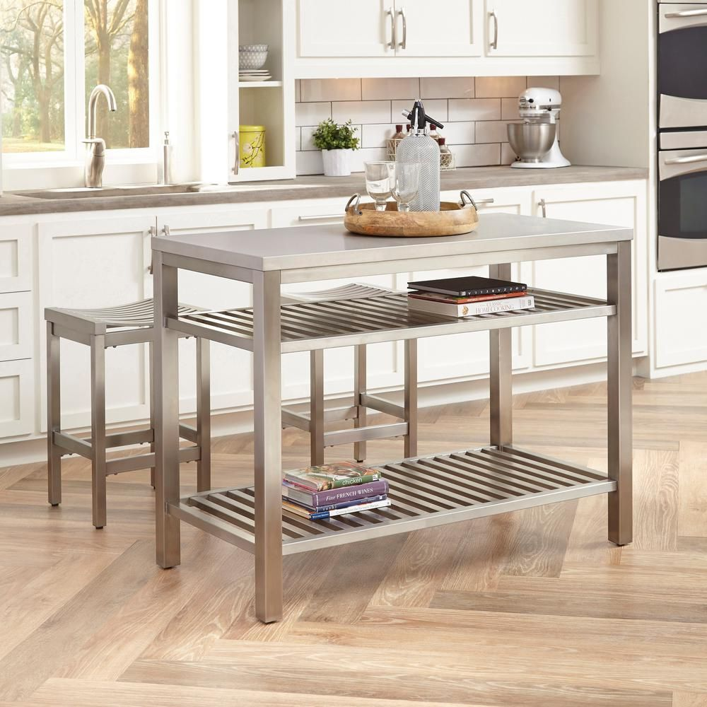 Homestyles Brushed Satin Stainless Steel Kitchen Island With Bar Stools 5617 948 The Home Depot Stainless Steel Kitchen Island Kitchen Design Kitchen Island Bar