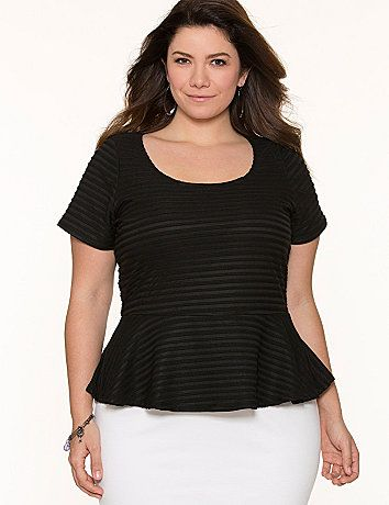 The curve-loving peplum tee is an essential for every wardrobe with its flattering fit and versatility. Our version is easy to dress up or down with textured shadow striping and a sexy scoop neckline. Short sleeves. lanebryant.com