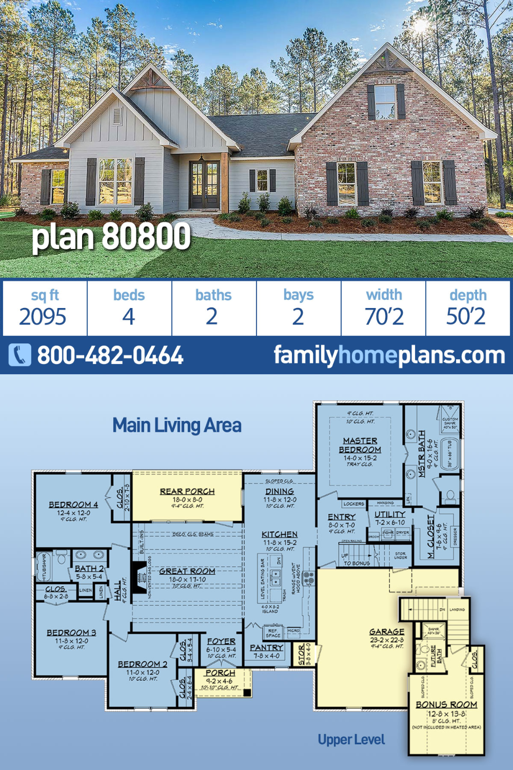 Traditional Style House Plan 80800 With 4 Bed 2 Bath 2 Car Garage In 2020 New House Plans Ranch House Plans Family House Plans