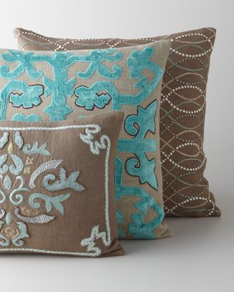 Taupe & Blue Embroidered Pillows at Horchow.