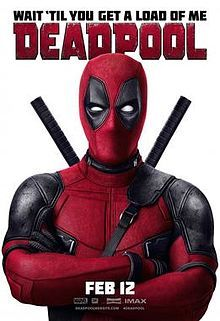 Official poster shows the titular hero Deadpool standing in front of the viewers, with hugging his hands, and donning his traditional black and red suit and mask, and the film's name, credits and billing below him.