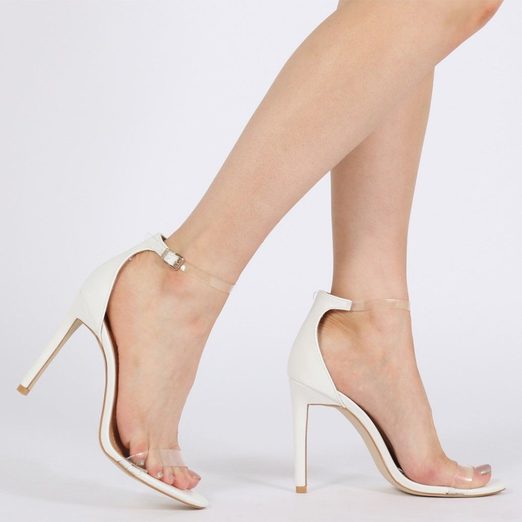 Daisy Clear Strap Stiletto Heels in White