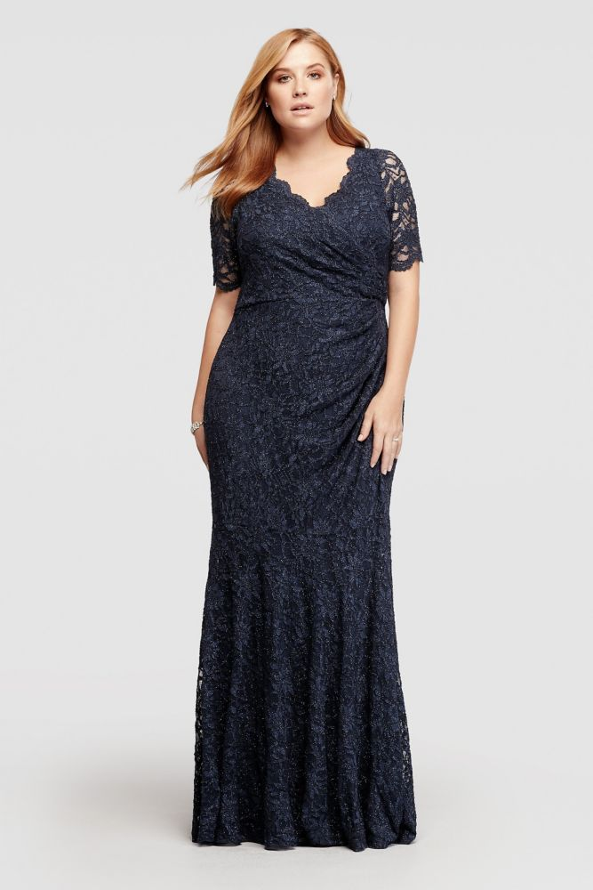 5c8b036a1075a Plus Size Allover Glitter Lace Mother of Bride Groom Dress with Scallop  Trim - Navy (Blue)