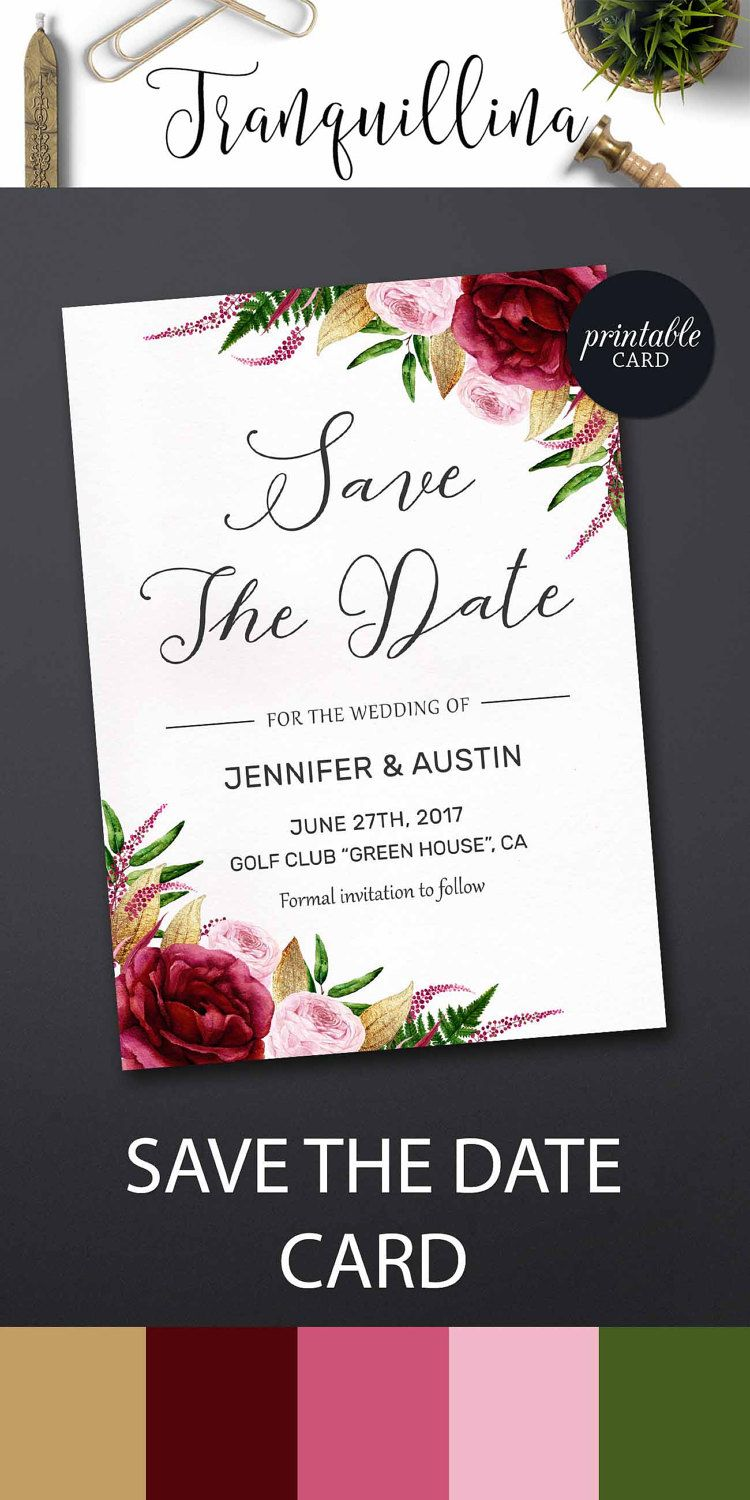 Floral Save the Date Card Burgundy Save