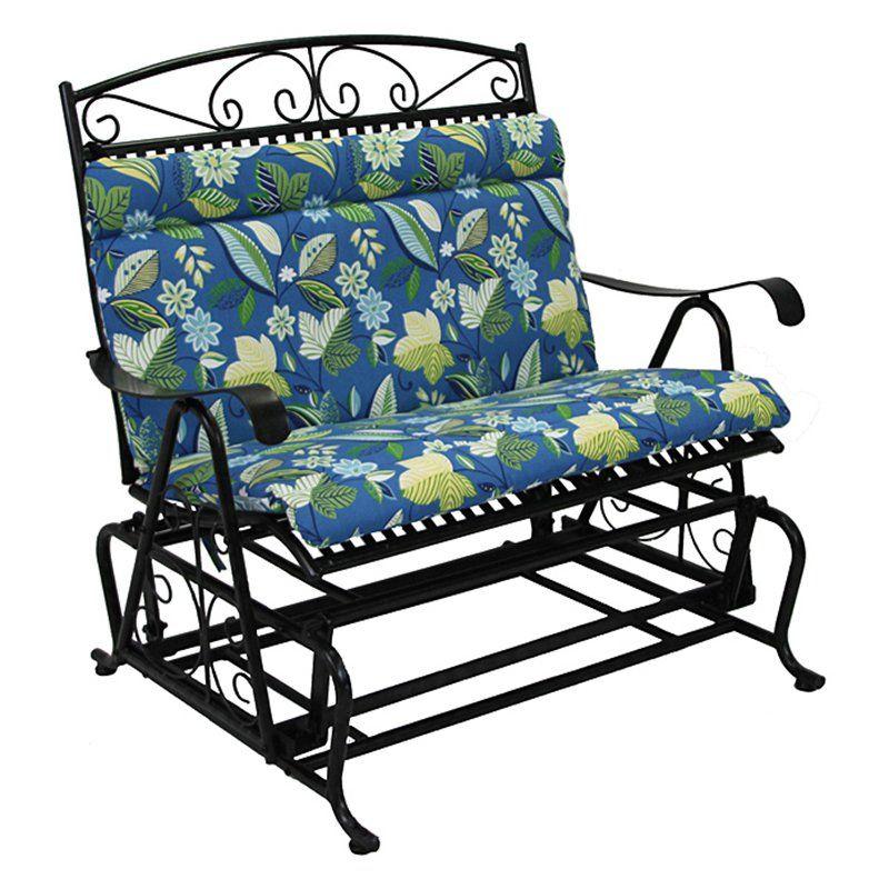 Blazing Needles Outdoor Loveseat Glider Hinged Seat U0026 Back Cushion   40 X  43 In.