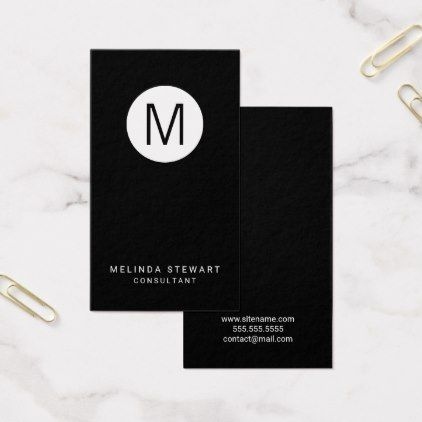 Black and white modern minimalist monogram business card monogram black and white modern minimalist monogram business card monogram gifts unique design style monogrammed diy colourmoves