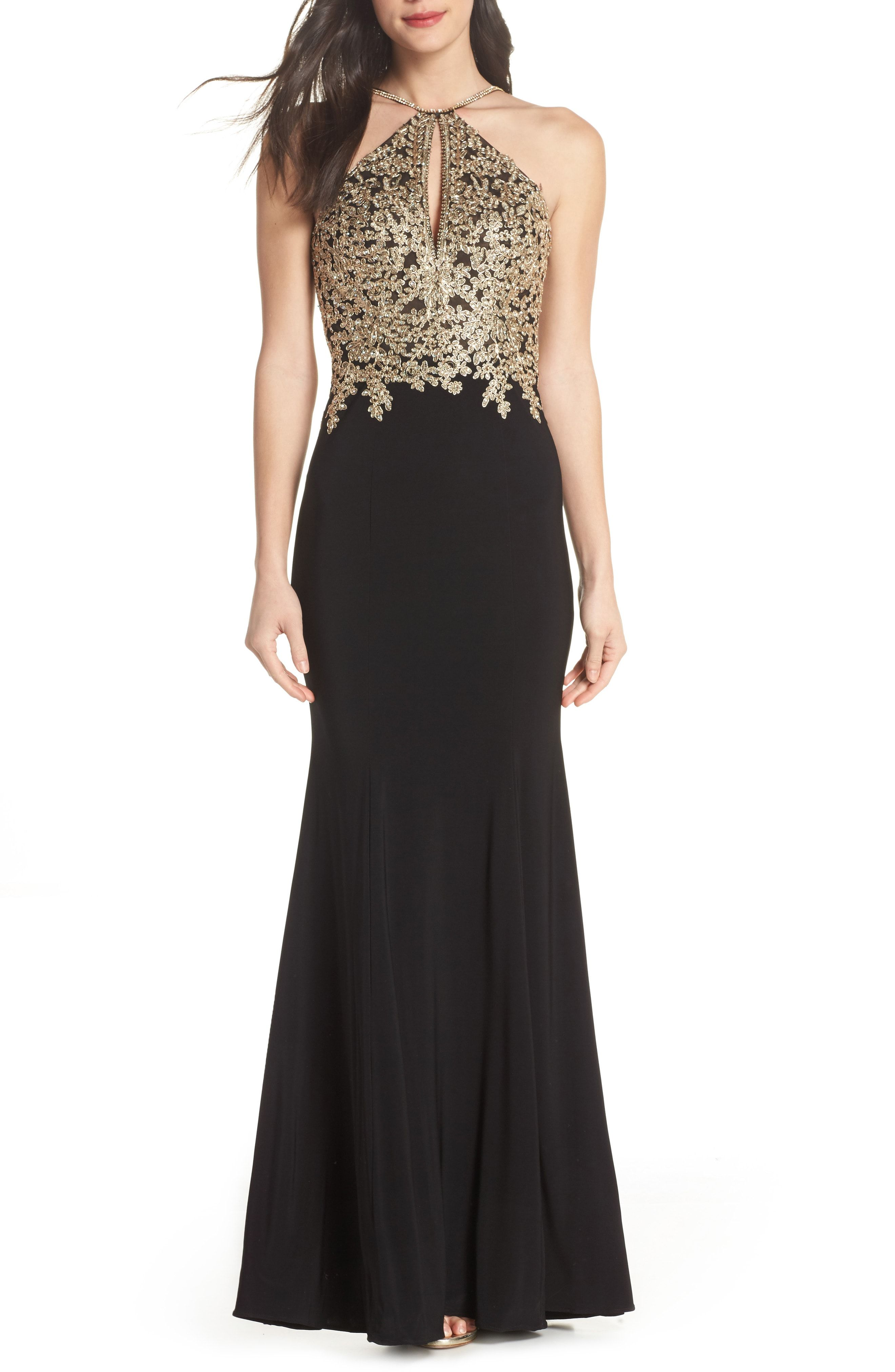 Buy xscape gold embroidery halter neck gown online sku