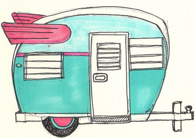Turquoise old school camper art...wow...you had me at turquoise!