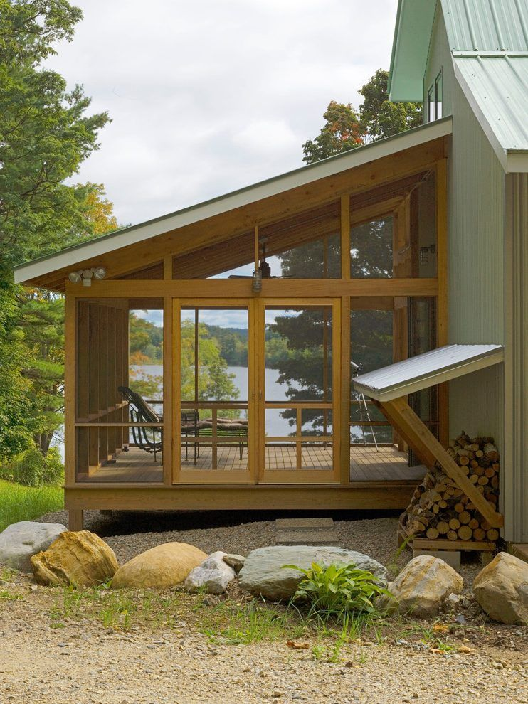 image result for screened porch with slanted roof on steps in discovering the right covered deck ideas id=54899