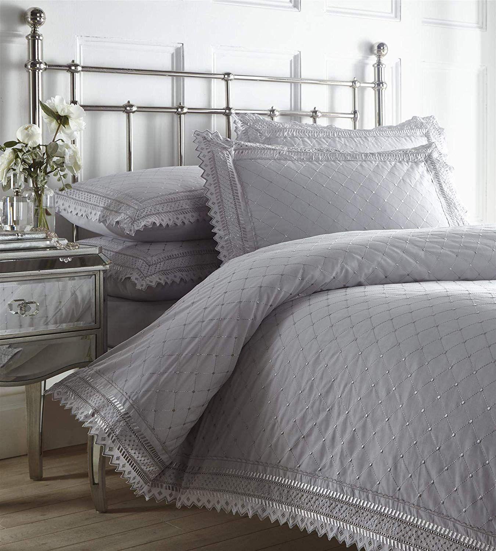 Broiderie Anglaise Grey Duvet Cover Set Broiderie Anglaise Bedding In 2020 Duvet Sets Duvet Cover Sets Gray Duvet Cover