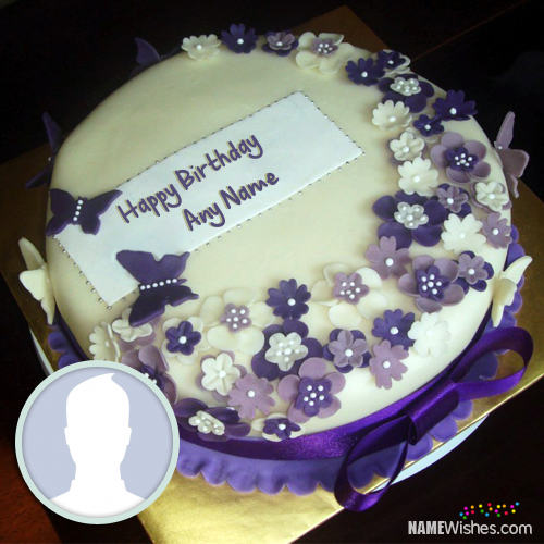 Purple Happy Birthday Cake With Name