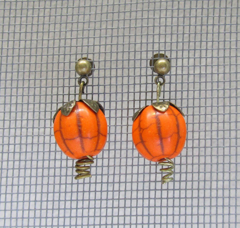 Halloween pumpkin earrings gift ideas for her fall fashion autumn trends (12.00 USD) by MontanaMagic