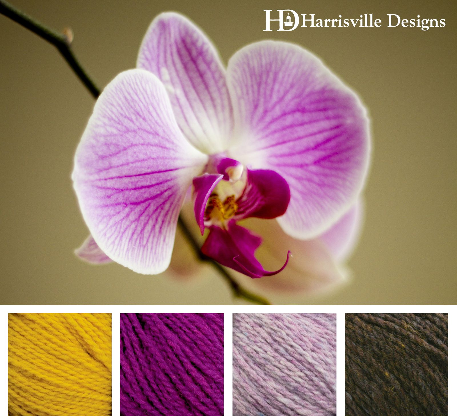 Orchid yarn color template. Shetland Yarns: Marigold, Magenta, Lilac, and Walnut from Harrisville Designs.