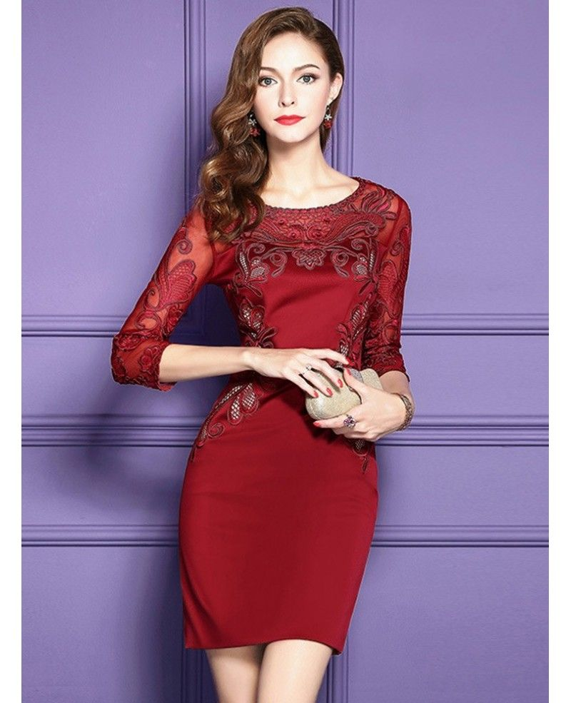 Classy Navy Blue Lace Long Sleeve Cocktail Dresses For Women Wedding ...
