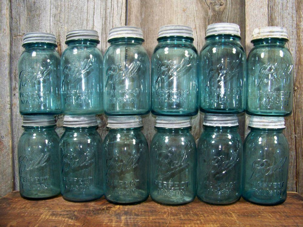 12 Antique Quart Ball Mason Blue Fruit Canning Jars w Lids ~ Dozen Vintage Jars