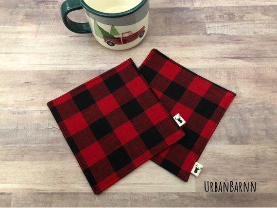 Coasters, Black and Red Buffalo Plaid, Fabric Coasters, Gift Set