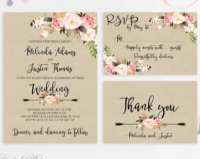 Floral Rustic Wedding Invitation Printable Boho Wedding Invitation