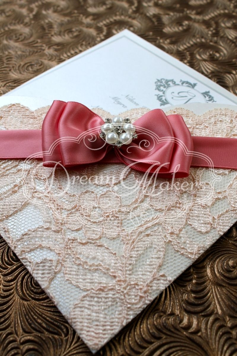 romantic lace and satin ribbon invitation | Unique Wedding ...