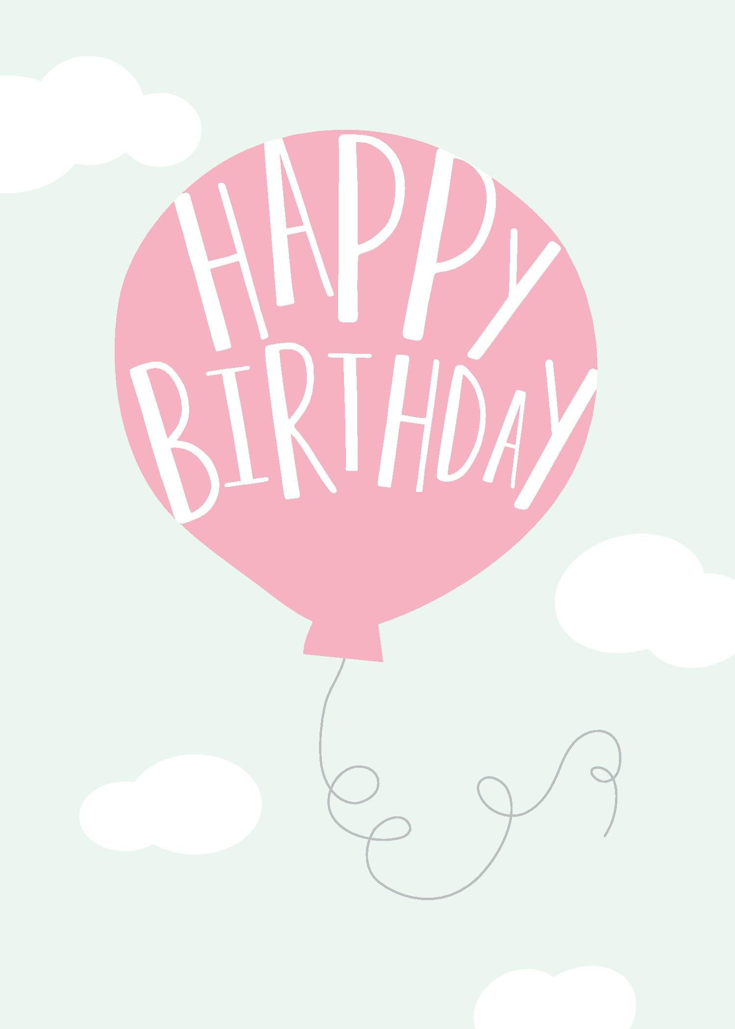 Happy Birthday Greeting Card With Pink Baloon Design By Print