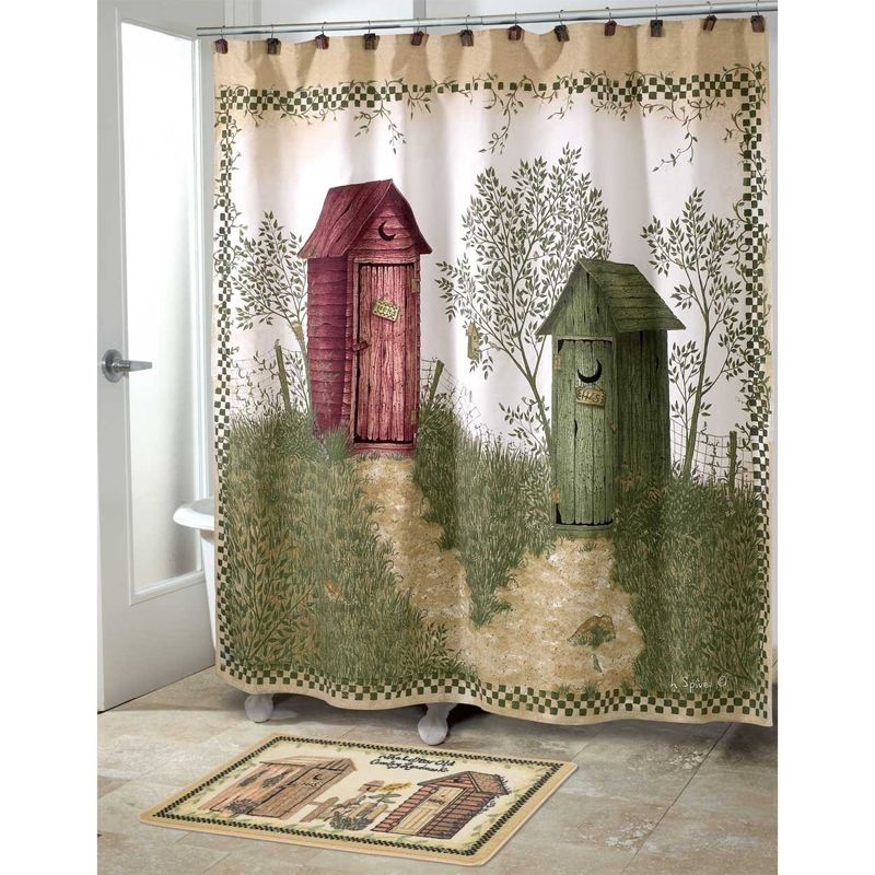 Outhouse Bathroom Set Outhouses Bath Set 5 Piece Country Decor Shower Curtain Rug And
