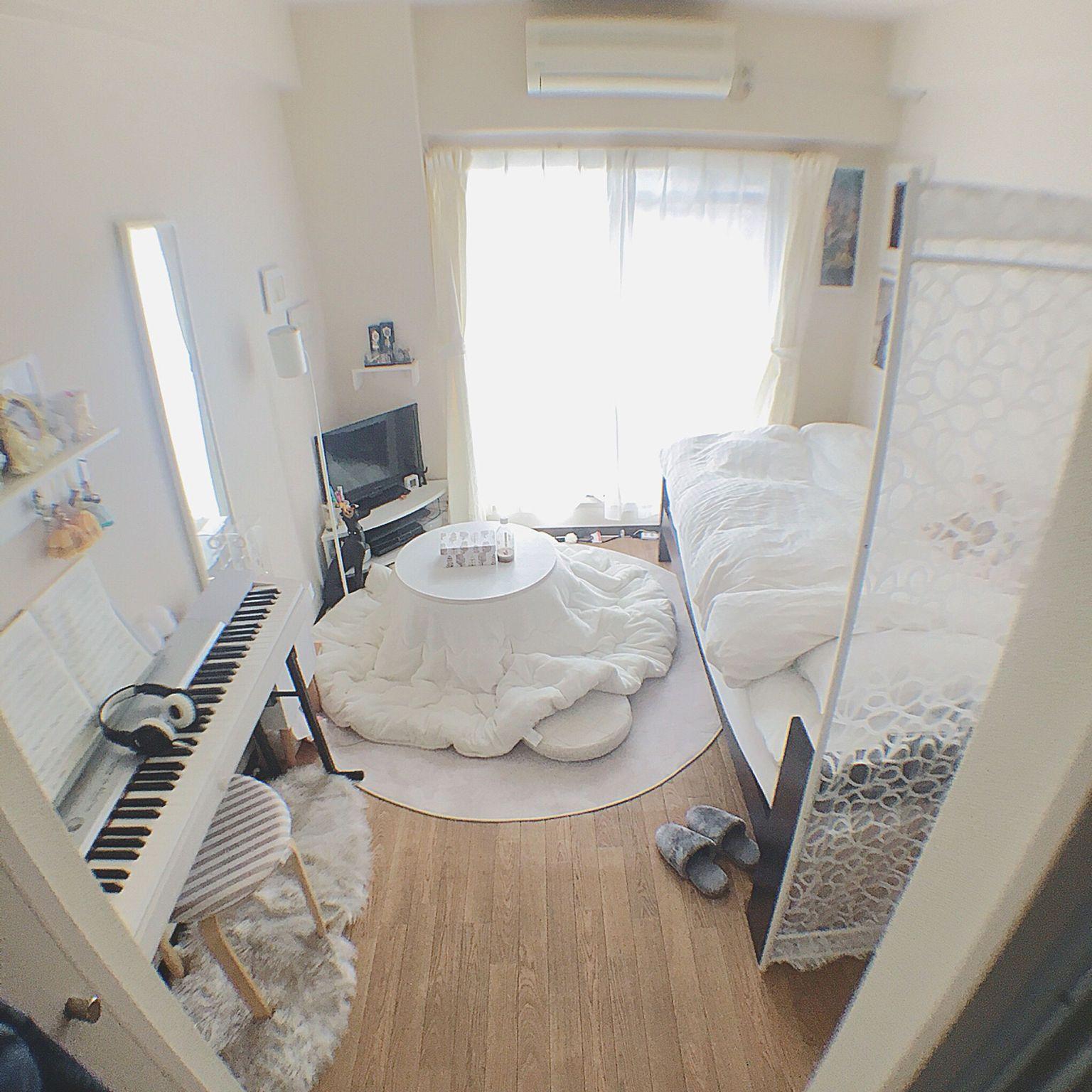 56b888cb11a43 Overview 一人暮らし 狭い部屋 1K こたつ ホワイトインテリア...などのインテリア実例 - 2017-11-23 05 13 23