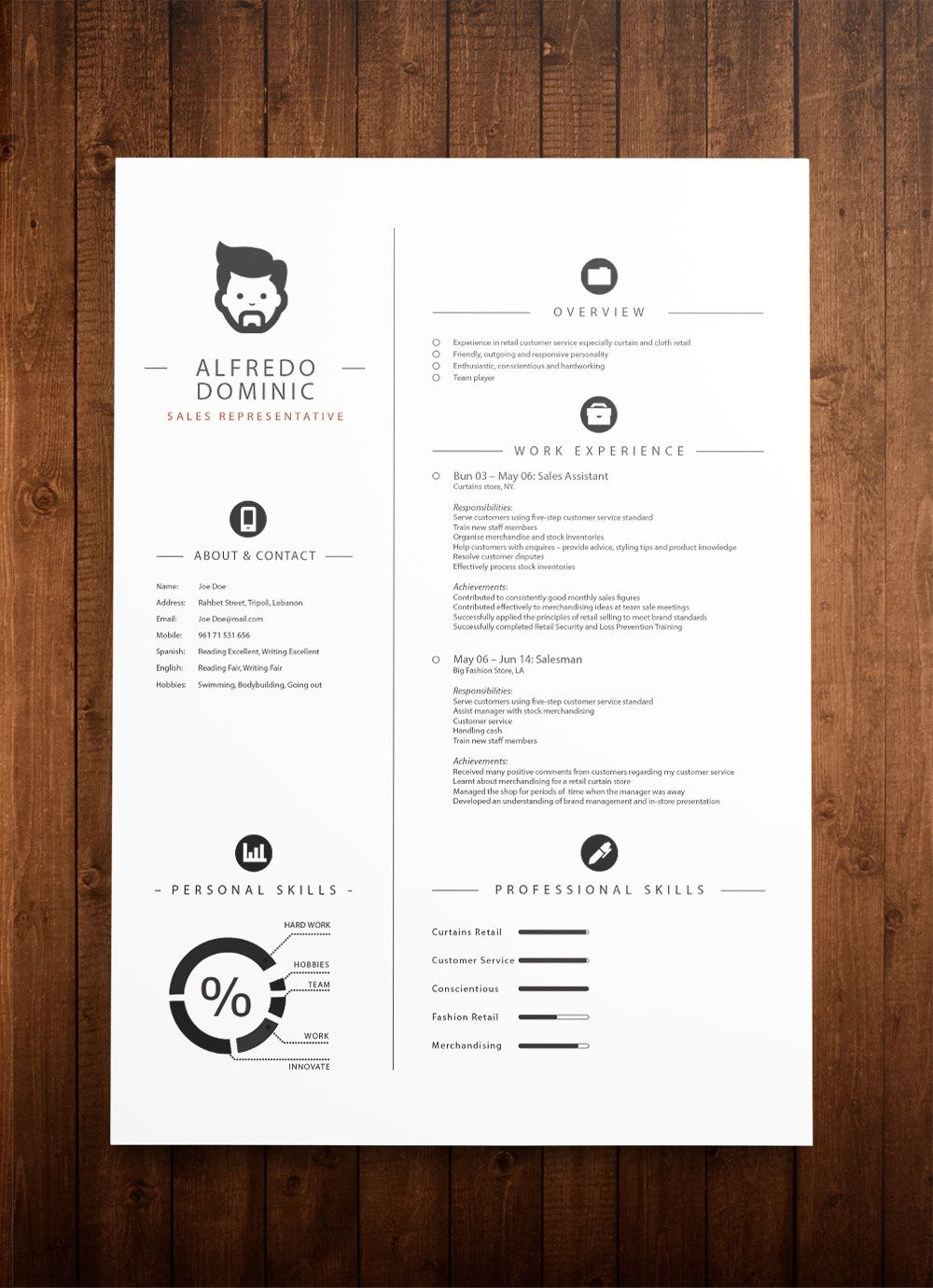 Resume Sample Modern Design Standard CV Resume Templates Resume ...