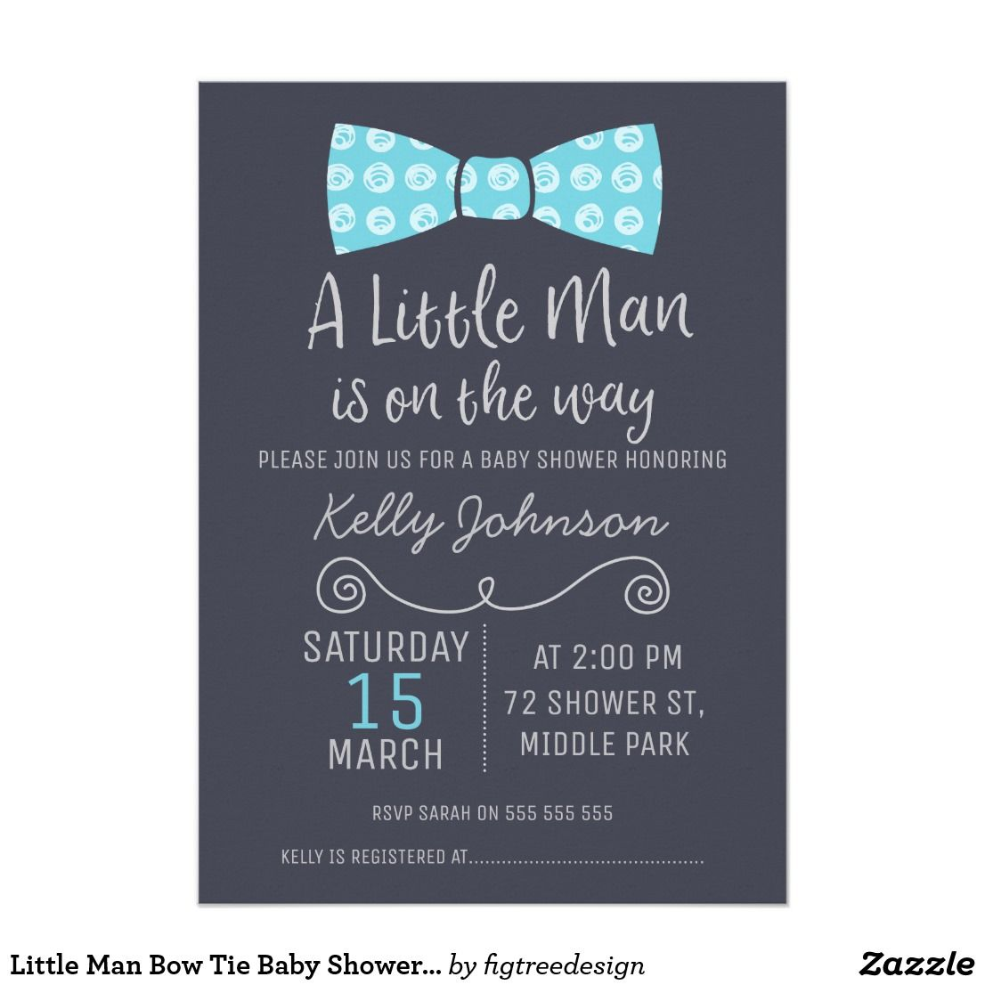 Little Man Bow Tie Baby Shower Invitation This little man bow tie ...