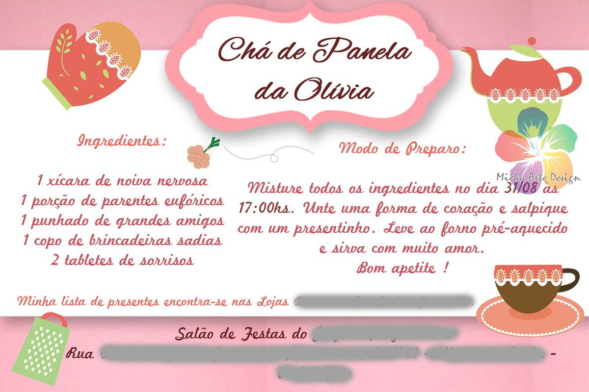 Convite Ch De Panela Criativo Pesquisa Google Cha Panela