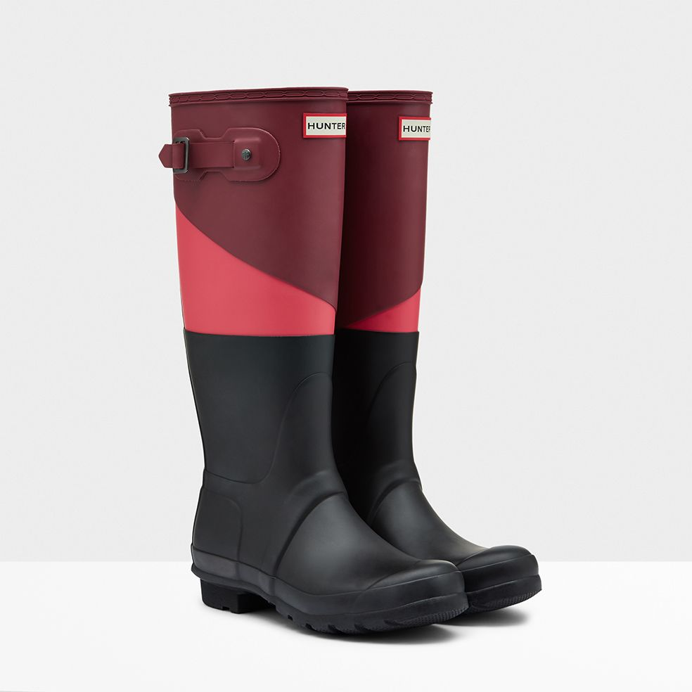 Hunter Boots Womens - Hunter Asymmetric Colour Block Orange Red Black