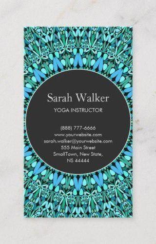 Turquoise Flower Mandala Business Card #MandalaBusinessCards #PrintTemplate #SpiritualCounselor #Mak...