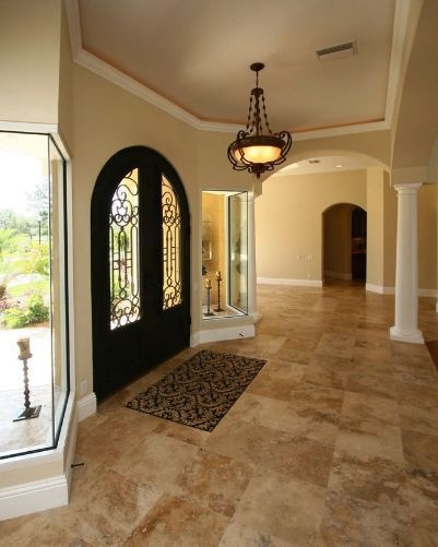 Large Front Door Photo In Tampa With Beige Walls Country Classic Travertine  Floors A Double Front Door. #sefastone #travertinetiles