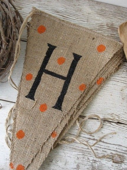 Happy Halloween banner...polka dots & burlap.  Would be easy to do yourself.