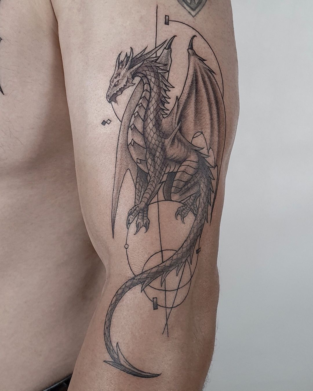 """Black House Tattoo Prague on Instagram: """"Dragon with impressive details for Alan 🐉Follow @pachan.prg & @blackhousetattoo to see more tattoos by us!😎"""""""