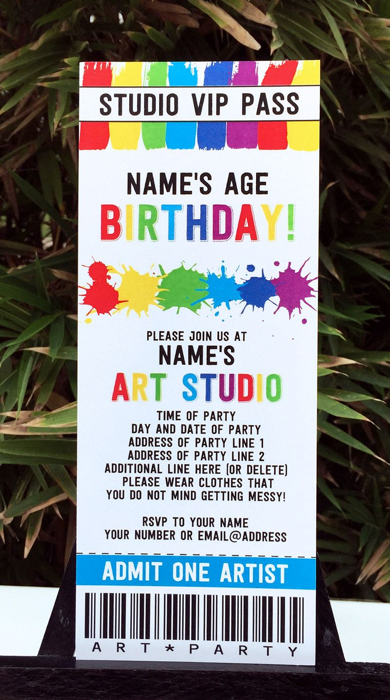 Art Birthday Party Theme Printables | Art birthday, Birthday party ...