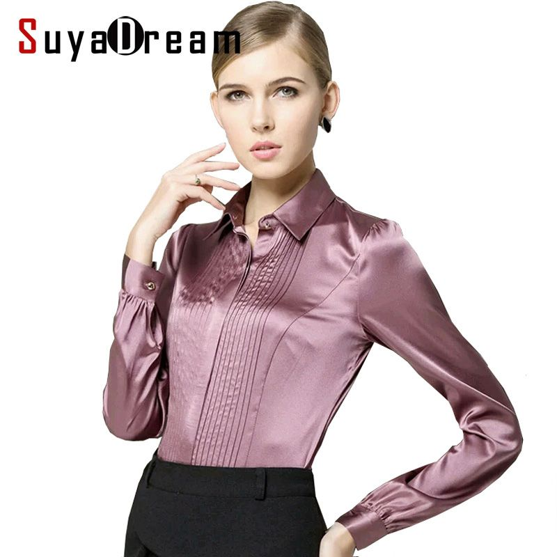 bf5331b75c0 Pure Mulberry SILK blouse Women long sleeve work Brand Solid Darts Blusas  femininas Office lady STRETCH