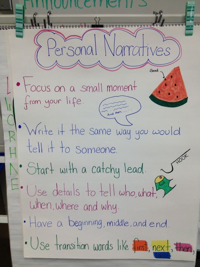 personal narrative anchor chart … | anchor charts | pinte…