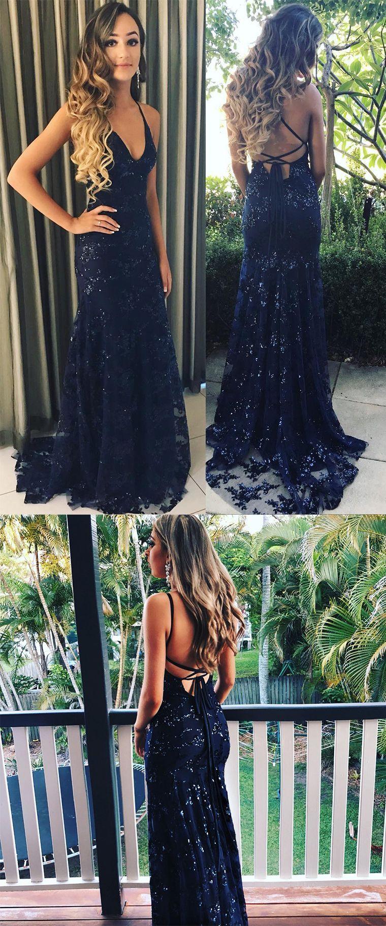 Elegant prom dressesstraps prom dressnavy blue prom gownmermaid