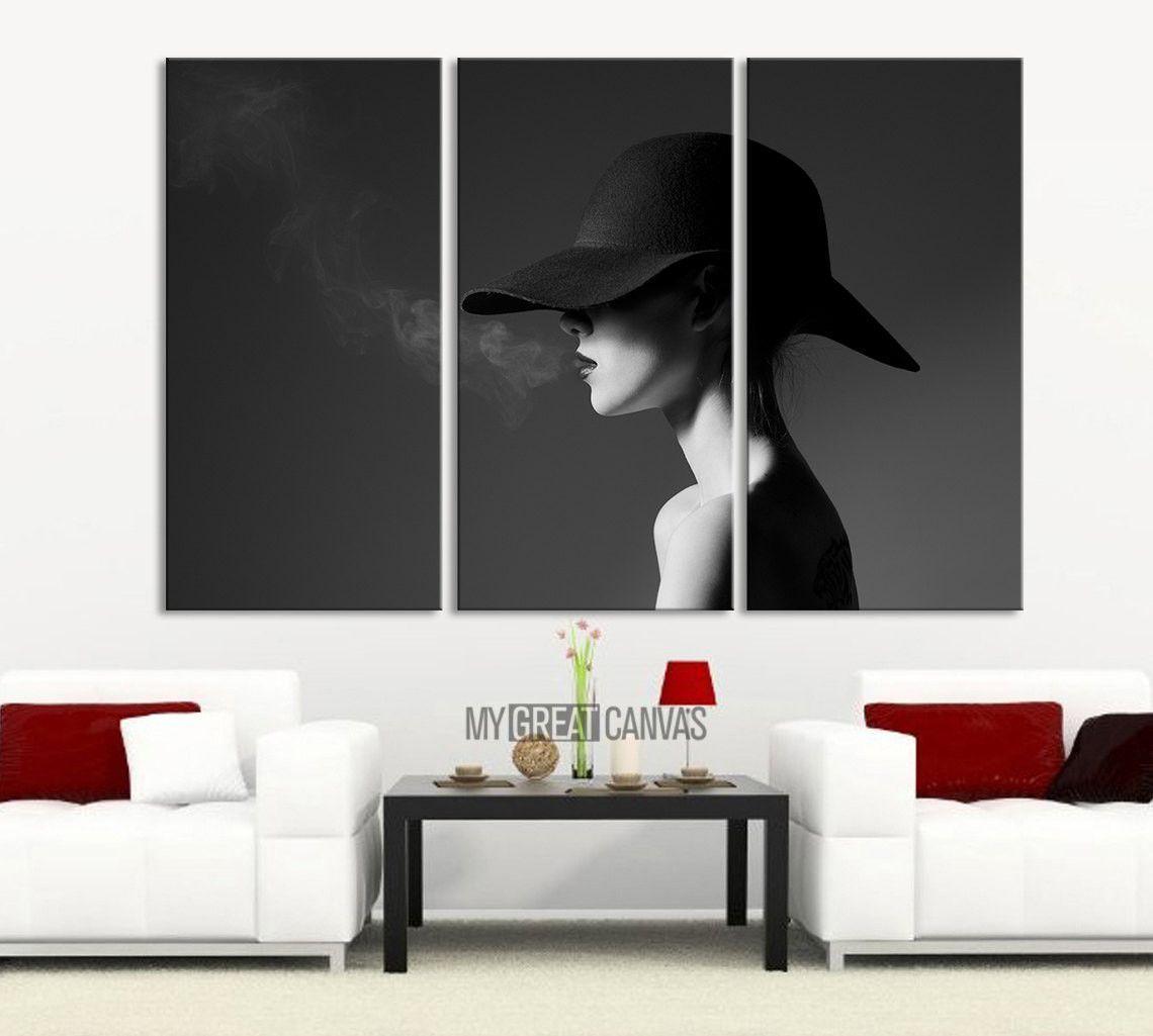 Black And White Smoking Women 3 Panel Wall Art Canvas Print