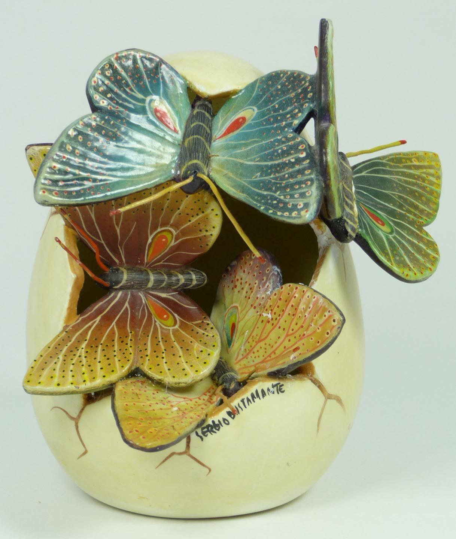 SERGIO BUSTAMANTE CERAMIC BUTTERFLY EGG Sergio Bustamante ceramic ...