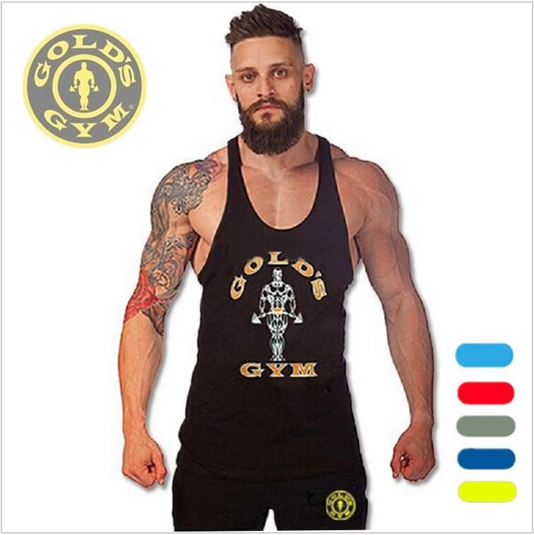 ea669e6d3aa23 Golds Vest Mens Sleeveless Shirt Bodybuilding Stringers Tank Top Fitness  Singlets power Sporting Undershirt Animal gyms Clothing